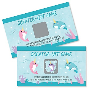 Narwhal Girl - Under The Sea Baby Shower or Birthday Party Game Scratch Off Cards - 22 Count