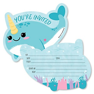 Narwhal Girl - Shaped Fill-In Invitations - Under The Sea Baby Shower or Birthday Party Invitation Cards with Envelopes - Set of 12