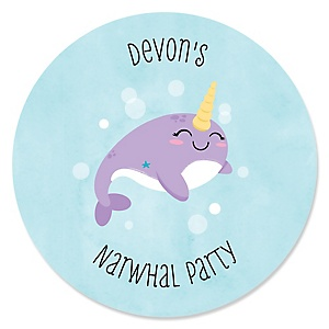 Narwhal Girl - Personalized Under The Sea Baby Shower or Birthday Party Sticker Labels - 24 ct