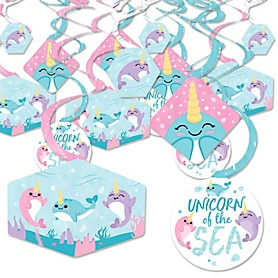 Narwhal Girl - Under The Sea Baby Shower or Birthday Party Hanging Decor - Party Decoration Swirls - Set of 40