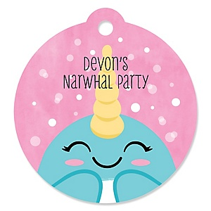 Narwhal Girl - Round Personalized Under The Sea Party Tags - 20 ct