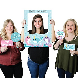 Narwhal Girl - Personalized Under The Sea Baby Shower or Birthday Party Selfie Photo Booth Picture Frame and Props - Printed on Sturdy Material