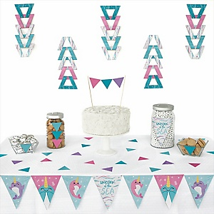 Narwhal Girl - Triangle Under The Sea Party Decoration Kit - 72 Piece