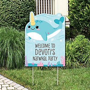 Narwhal Girl - Party Decorations - Under The Sea Baby Shower or Birthday Party Personalized Welcome Yard Sign