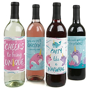 Narwhal Girl - Under The Sea Birthday Party Decorations for Women and Men - Wine Bottle Label Stickers - Set of 4