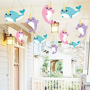 Hanging Narwhal Girl - Outdoor Under The Sea Baby Shower or Birthday Party Hanging Porch and Tree Yard Decorations - 10 Pieces