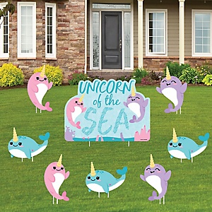 Narwhal Girl - Yard Sign and Outdoor Lawn Decorations - Under The Sea Baby Shower or Birthday Party Yard Signs - Set of 8