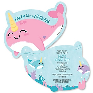 Narwhal Girl - Shaped Under The Sea Baby Shower invitations - Set of 12
