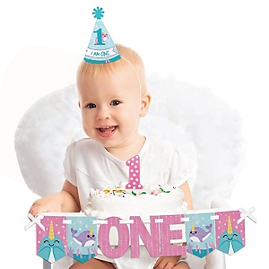 Narwhal Girl 1st Birthday - First Birthday Girl Smash Cake Decorating Kit - High Chair Decorations