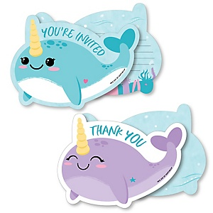 Narwhal Girl - 20 Shaped Fill-In Invitations and 20 Shaped Thank You Cards Kit - Under The Sea Baby Shower or Birthday Party Stationery Kit - 40 Pack