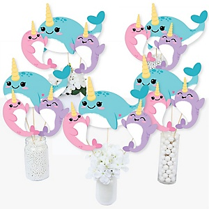 Narwhal Girl - Under The Sea Baby Shower or Birthday Party Centerpiece Sticks - Table Toppers - Set of 15