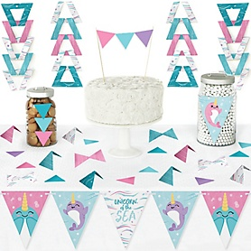 Narwhal Girl - DIY Pennant Banner Decorations - Under The Sea Baby Shower or Birthday Party Triangle Kit - 99 Pieces