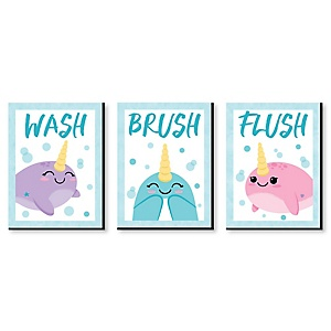 Narwhal Girl - Kids Bathroom Rules Wall Art - 7.5 x 10 inches - Set of 3 Signs - Wash, Brush, Flush