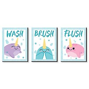 "Narwhal Girl - Kids Bathroom Rules Wall Art - 7.5"" x 10"" - Set of 3 Signs - Wash, Brush, Flush"