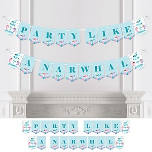 Narwhal Girl - Under The Sea Baby Shower or Birthday Party Bunting Banner - Party Decorations - Party Like a Narwhal