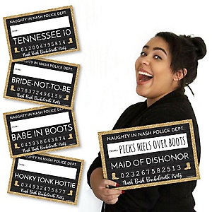 Nash Bash - Nashville Bachelorette Party Mug Shots - 20 Piece Photo Booth Props Kit