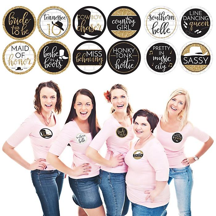 Nash Bash - Nashville Bachelorette Party Name Tags - Party Badges Sticker Set of 12