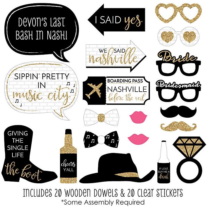 Nash Bash - 20 Piece Nashville Bachelorette Party Photo Booth Props Kit