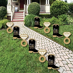 Nash Bash - Cowboy Boot and Ring Lawn Decorations - Outdoor Nashville Bachelorette Party Yard Decorations - 10 Piece
