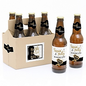 Nash Bash - Nashville Bachelorette Party - 6 Beer Bottle Label Stickers and 1 Carrier