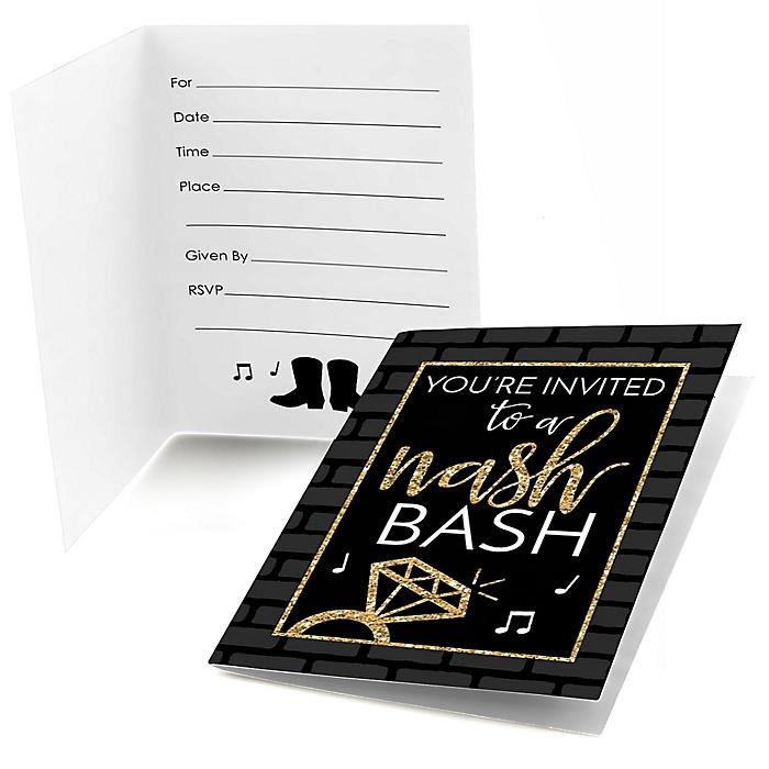 Nash Bash - Nashville Bachelorette Party Fill In Invitations - 8 ct