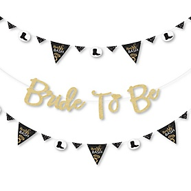 Nash Bash - Nashville Bachelorette Party Letter Banner Decoration - 36 Banner Cutouts and No-Mess Real Gold Glitter Bride To Be Banner Letters