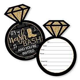 Nash Bash - Shaped Fill-In Invitations - Nashville Bachelorette Party Invitation Cards with Envelopes - Set of 12