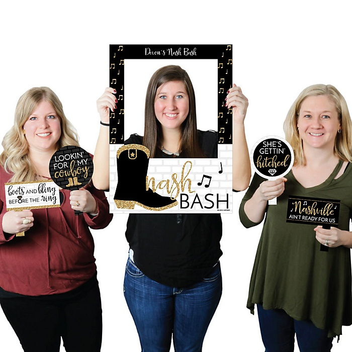 Nash Bash - Nashville Bachelorette Party Selfie Photo Booth Picture Frame & Props - Printed on Sturdy Material