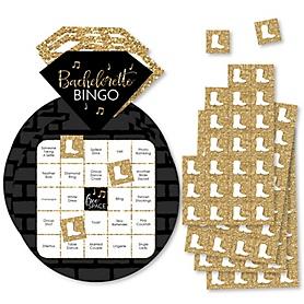 Nash Bash - Bar Bingo Cards and Markers - Nashville Bachelorette Party Shaped Bingo Game - Set of 18