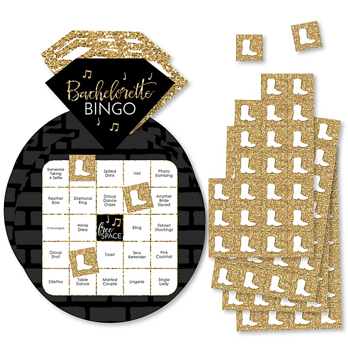 Nash Bash - Bar Bingo Cards and Markers - Nashville Bachelorette Party Shaped Bingo Game - Set of 18