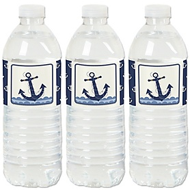 Ahoy - Nautical - Baby Shower or Birthday Party Water Bottle Sticker Labels - Set of 20