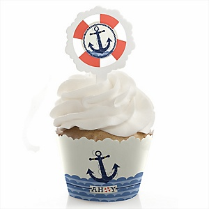 Ahoy - Nautical - Cupcake Wrapper & Pick Party Kit - Set of 24