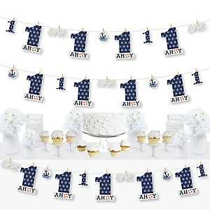 1st Birthday Ahoy - Nautical - First Birthday Party DIY Decorations - Clothespin Garland Banner - 44 Pieces