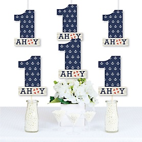 1st Birthday Ahoy - Nautical - One Shaped Decorations DIY First Birthday Party Essentials - Set of 20
