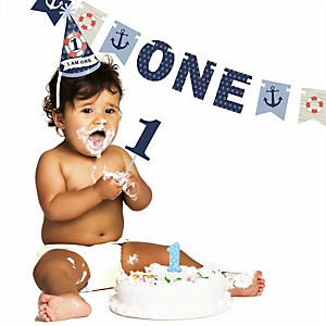 Ahoy - Nautical - 1st Birthday Boy Smash Cake Kit - High Chair Decorations
