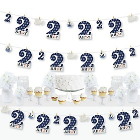 2nd Birthday Ahoy - Nautical - Second Birthday Party DIY Decorations - Clothespin Garland Banner - 44 Pieces