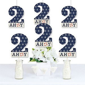 2nd Birthday Ahoy - Nautical - Two Shaped Decorations DIY Second Birthday Party Essentials - Set of 20