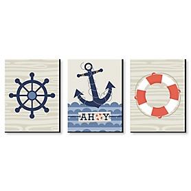Ahoy - Nautical - Boy Nursery Wall Art & Kids Room Decor - 7.5 x 10 inches - Set of 3 Prints