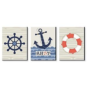 """Ahoy - Nautical - Boy Nursery Wall Art & Kids Room Décor - 7.5"""" x 10"""" - Set of 3 Prints"""