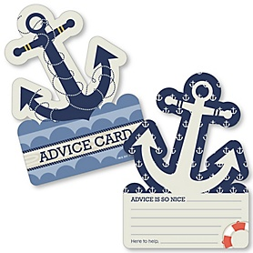 Ahoy - Nautical - Anchor Wish Card Baby Shower Activities - Shaped Advice Cards Game - Set of 20