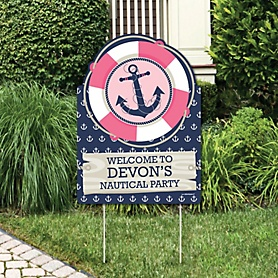 Ahoy - Nautical Girl - Party Decorations - Birthday Party or Baby Shower Personalized Welcome Yard Sign