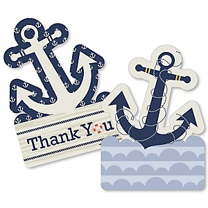 Ahoy - Nautical - Shaped Thank You Cards - Baby Shower or Birthday Party Thank You Note Cards with Envelopes - Set of 12