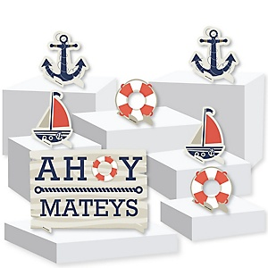 Ahoy - Nautical - Baby Shower or Birthday Party Centerpiece and Buffet Table Decor - Tabletop Standups - Set of 7