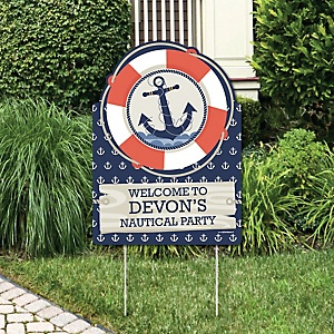 Ahoy - Nautical - Party Decorations - Birthday Party or Baby Shower Personalized Welcome Yard Sign