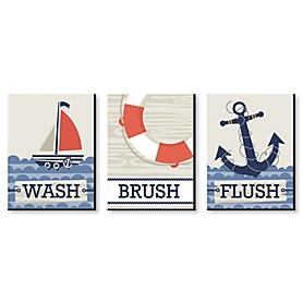 Ahoy - Nautical - Kids Bathroom Rules Wall Art - 7.5 x 10 inches - Set of 3 Signs - Wash, Brush, Flush