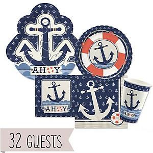 Ahoy - Nautical - Baby Shower 32 Big Dot Bundle