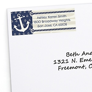 Ahoy - Nautical - Personalized Baby Shower Return Address Labels - 30 Count