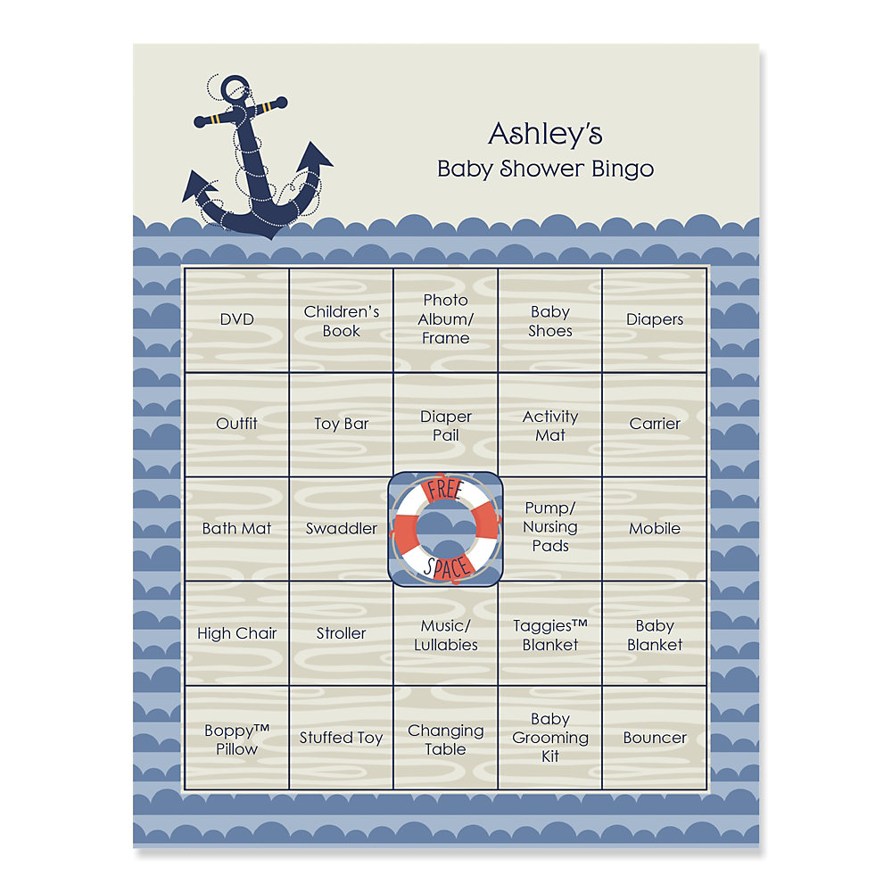 Ahoy   Nautical   Bingo Personalized Baby Shower Games   16 Count