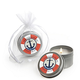 Ahoy - Nautical - Personalized Baby Shower Candle Tin Favors - Set of 12