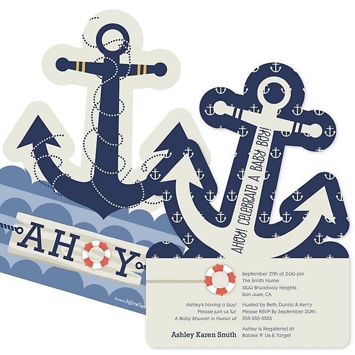 Ahoy - Nautical - Shaped Baby Shower Invitations - Set of 12